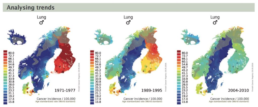 """Interactive maps on the Nordcan site (http://www-dep.iarc.fr/nordcan.htm) allow you to track trends over time in continuous sequences – shown here are snapshots of male lung cancer incidence at three time periods. The method used, """"small-area based smoothing method for cancer risk mapping"""", is described by T Patama and E Pukkala (Spat Spatio-temporal Epidemiol, in press)"""