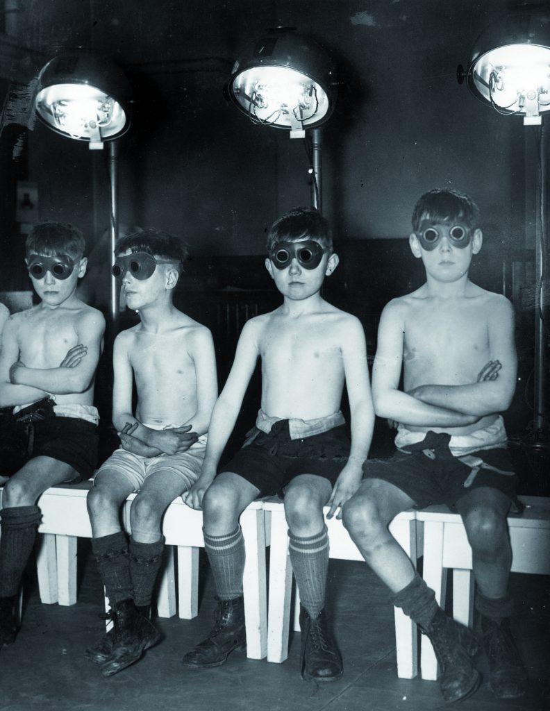 Children undergoing 'sunray treatment' at Manchester's Open Air School for Delicate Children, 1939