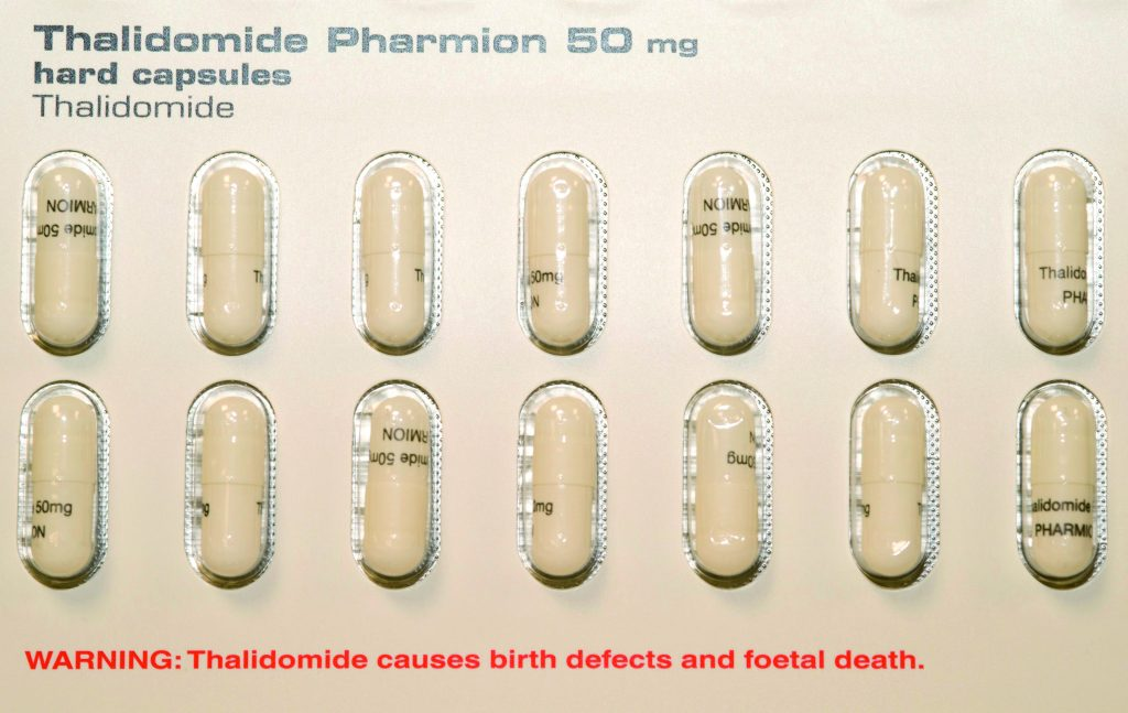 A repurposing success story. Thalidomide, the drug responsible for thousands of birth malformations in the late 1950s, re-emerged 40 years later as a significant new treatment for people with refractory multiple myeloma
